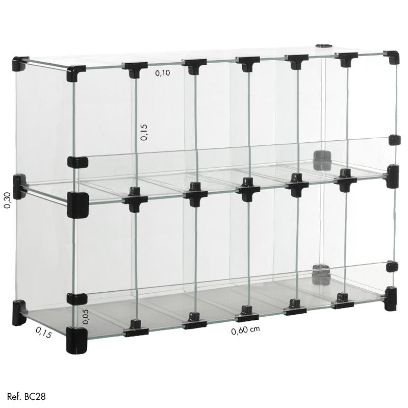 Baleiro Comercial Modulado em Vidro - 0,60 x 0,30 x 0,15